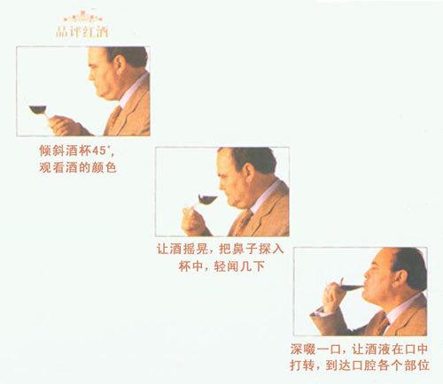 试酒的方法 是(1)看色;(2)闻香;(3)品味;过程要慢,才能细细欣赏那美妙