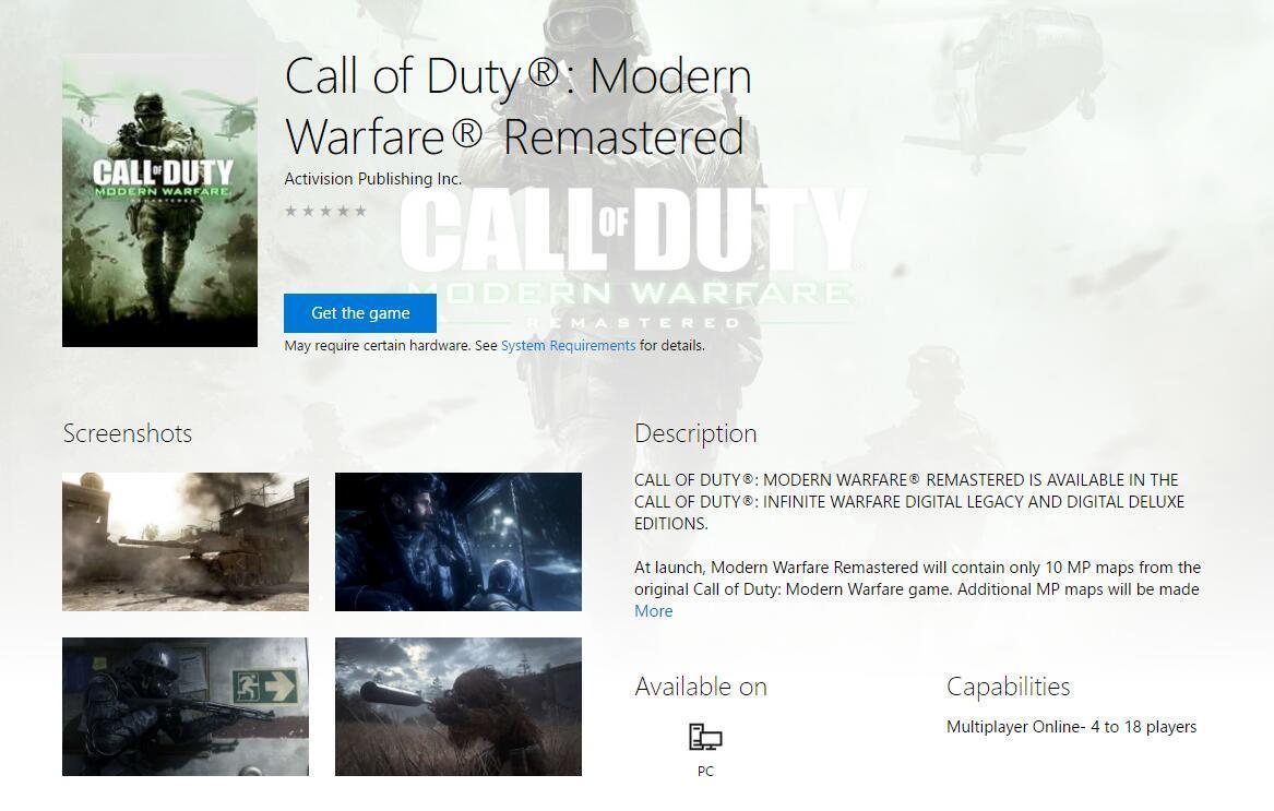 微软商店惊现《使命召唤4:现代战争》重制版