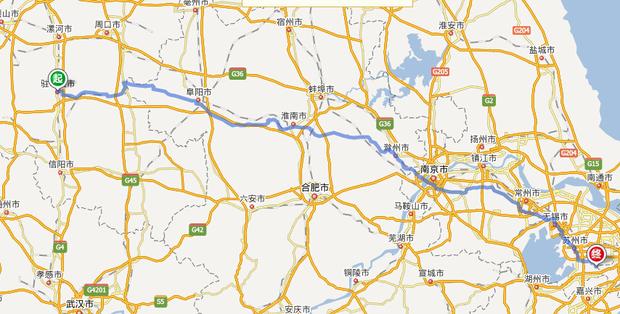 阜阳到苏州地图