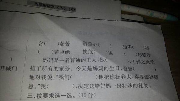 小学五年级语文作业本