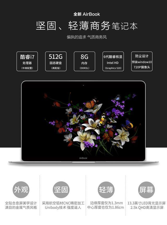 黄金比例尺寸笔记本 2K屏幕显示效果出色!