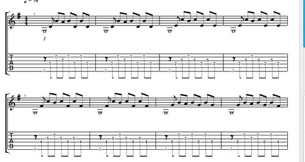 吉他的五线谱怎么看呀