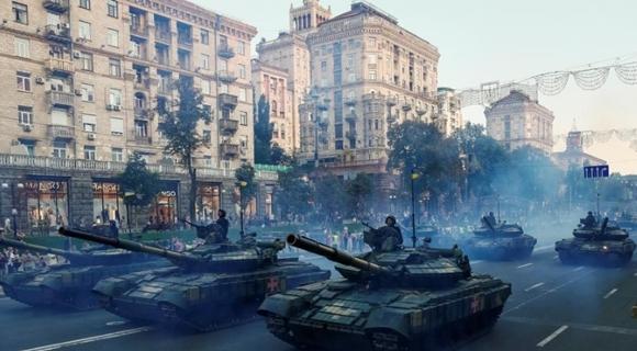 乌克兰举行独立日阅兵彩排 装甲上阵场面壮观