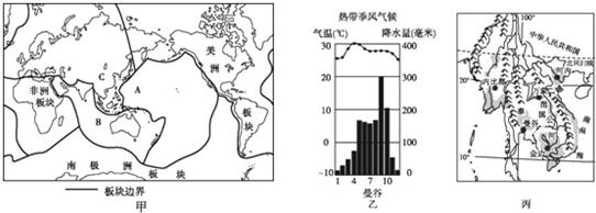 (4)由图丙中山脉和河流的分布可以判断中南半岛的
