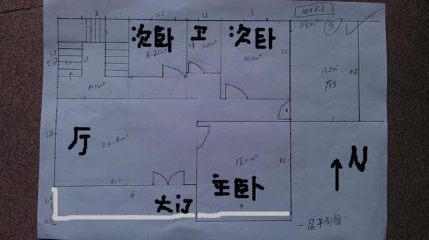 请高手帮忙看一下我家农村自建房三层半的平面设计图