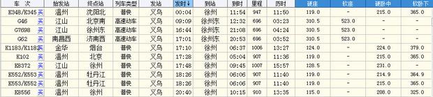 义乌到徐州的列车时刻表如下