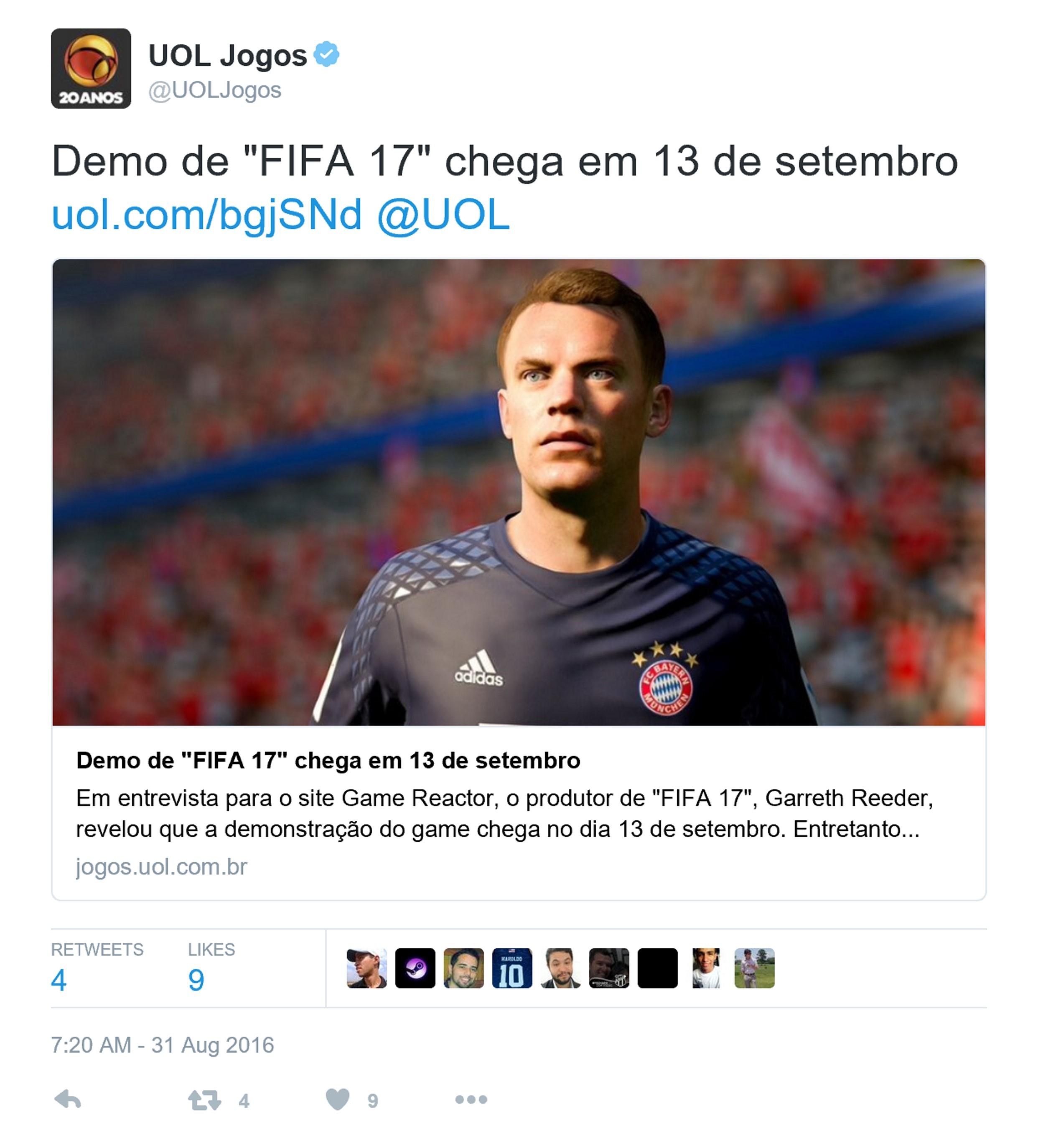 《FIFA 17》试玩版Demo9月上线