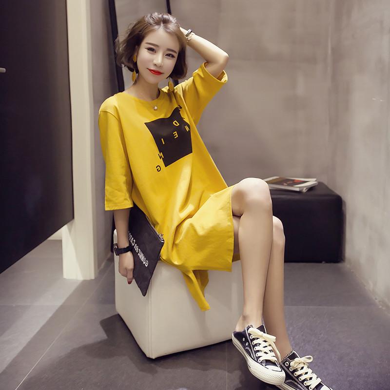 【休闲印花家居服】夏装显瘦开叉睡衣中长款连衣裙