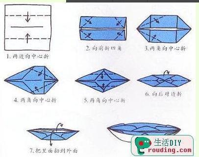 如何叠正方形纸船