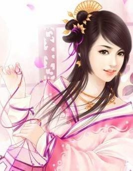 站在樱花下的手绘古装女子(图)